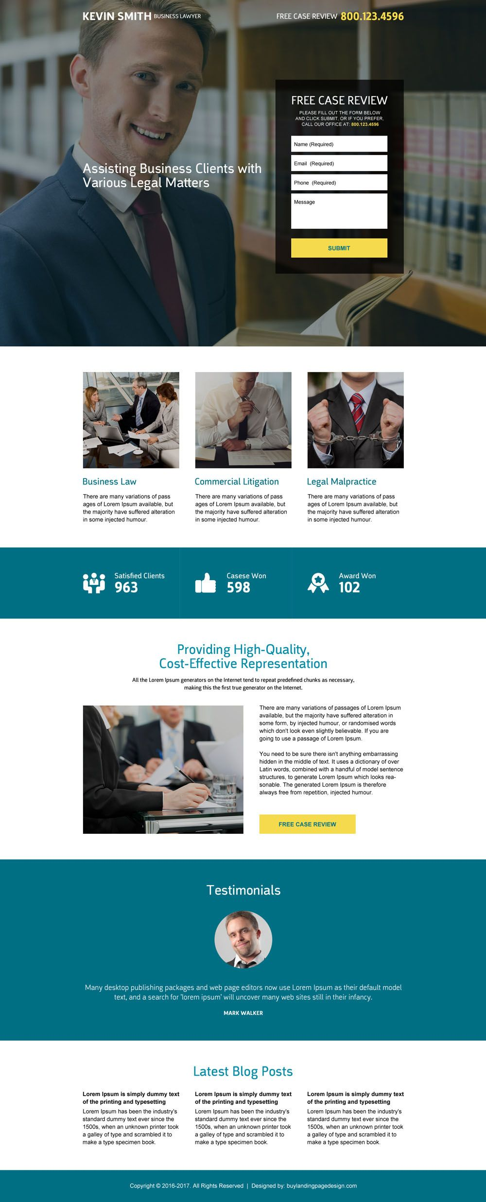 Business Lawyer Free Case Review Lead Capturing Landing Page With