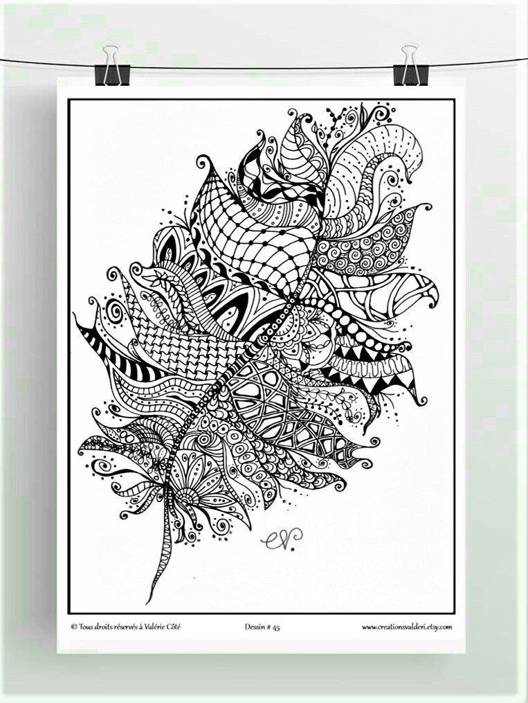 Coloriage A Imprimer Dessin No45 La Plume Dessin Noir Et Blanc