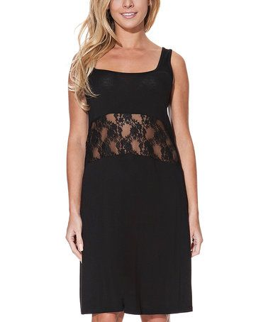 Loving this Black Lace-Panel Nightgown on #zulily! #zulilyfinds