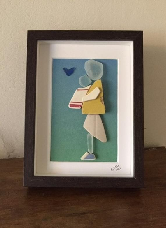 Framed Irish Sea Glass and Sea Pottery pictures ~ wall art ~ Love ~ New Baby Boy / Girl ~ Parents Family Love present