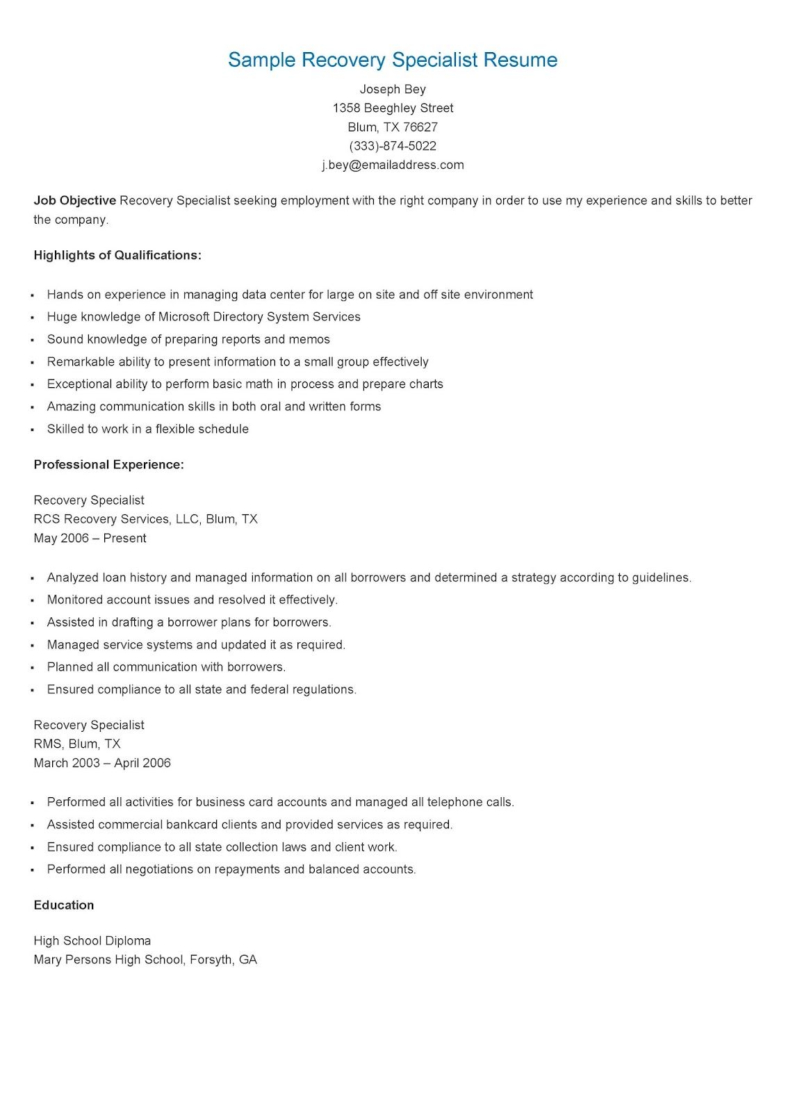Sample Recovery Specialist Resume Resume Specialist Resume Examples