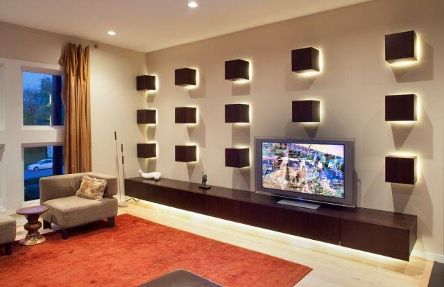 indirekte led beleuchtung wohnzimmer wand holz würfel deko Pieces