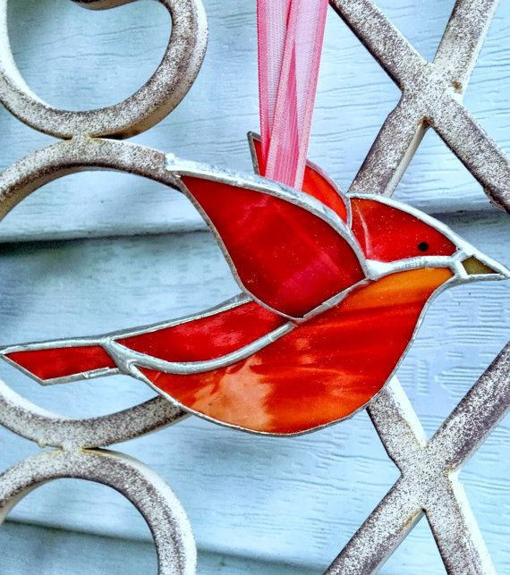 Parrot Home Decor Trend Flying High: Red Cardinal 3D Stained Glass Bird Window Hanging Ornament