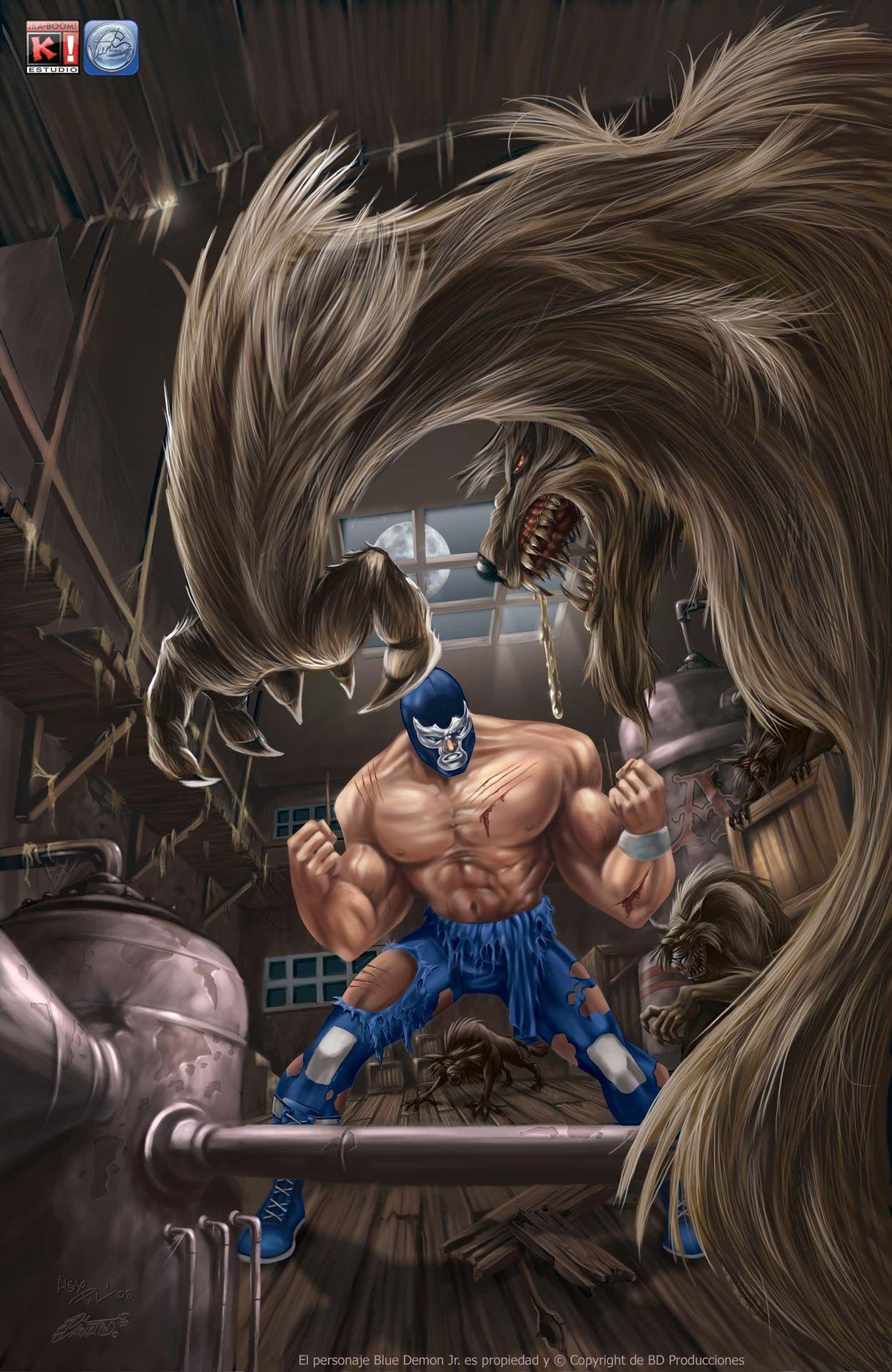 Blue Demon Pinup Lucha Libre Mexicana Lucha Libre Mascaras