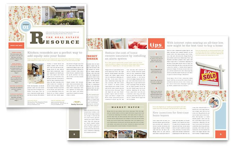 Real Estate Home For Sale Newsletter Template Design (I Like The Front Cover. Would Need More