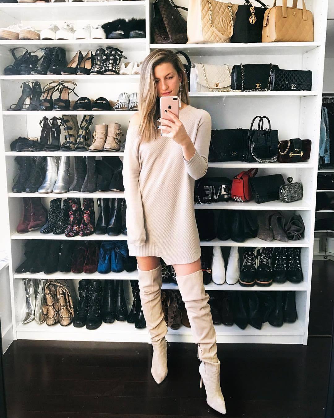 0dac137d99e Sweater Dress x OTK Boots - NYC Street Style - Closet Organization. Amateur  selfie in sweater dress and OTK boots