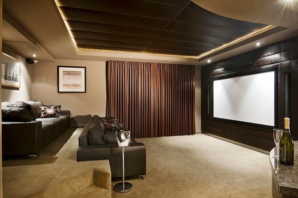 Home Theater Curtains Diy Transitional With