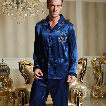 Fashion 2016 Sale Men Pajamas Emulation Silk Regular Full Sleeve Pijama  Casual Solid Turn-Down df854c497
