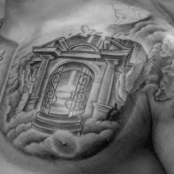 man with upper chest heaven gate tattoos tattos for me pinterest heavens heaven tattoos. Black Bedroom Furniture Sets. Home Design Ideas
