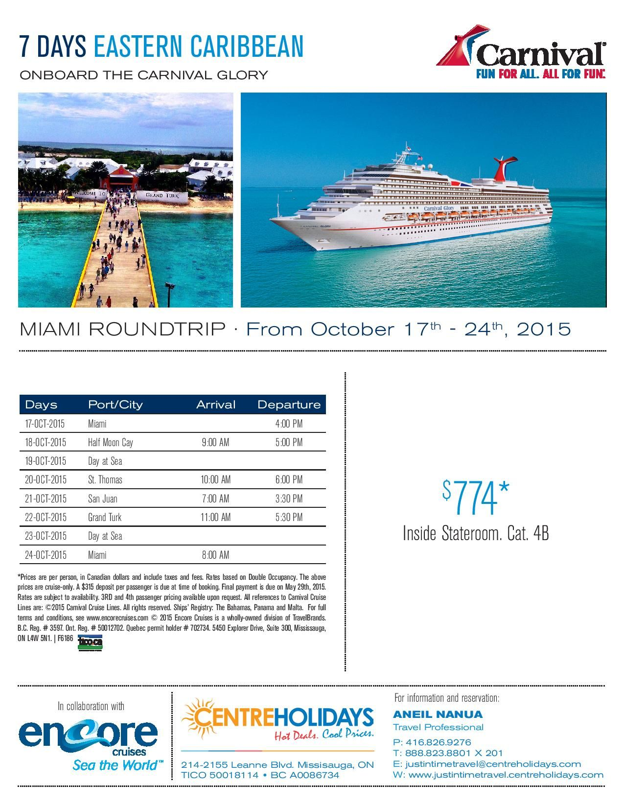 Carnival Glory, Cruise Deals