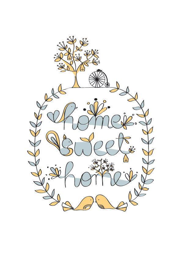 Home Sweet Home Wall Art home sweet home art print - pastel color - animal illustration