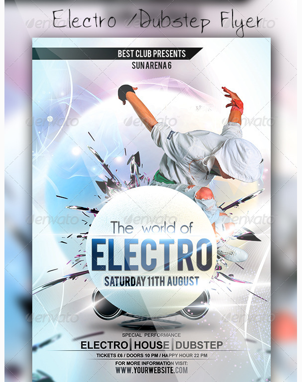 Electro Flyer Template  Party Flyer Templates For Clubs Business