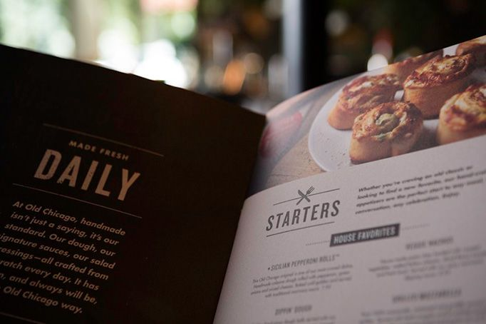 Old Chicago Pizza and Taproom menu design