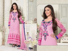 PartyWear Embroidered Pink Faux Georgette Salwar Kameez Dress Material