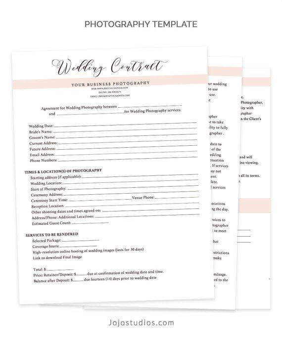 Wedding Contract Template, Wedding Contract Photography Business