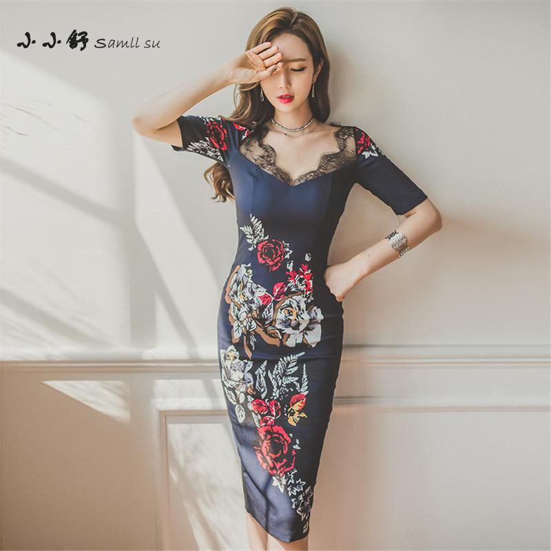 Summer Office Bule Print Lace Short Sleeve V-neck Bandage Bodycon Vintage Sexy Pencil Dresses Women 2017 Vestidos De Festa Femme