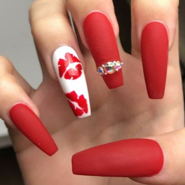 Ballerina Nails Red Matte Nails Valentine S Nails Kiss Nails Nails With Rhinestones Acrylic Nails Red Nail Art Designs Red Acrylic Nails Red Ombre Nails
