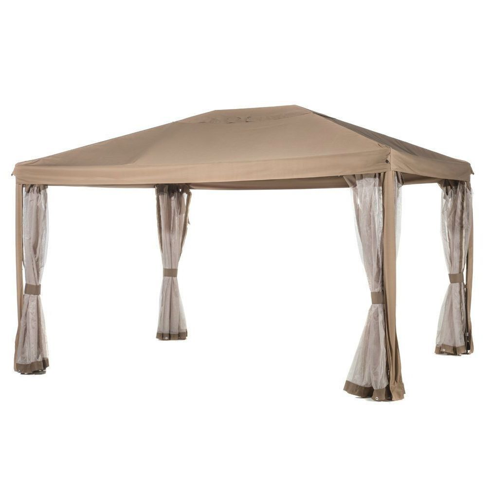 10ft X 12ft Fully Enclosed Solid Steel Garden Gazebo Patio Canopy With  Mosquito Netting Tan/