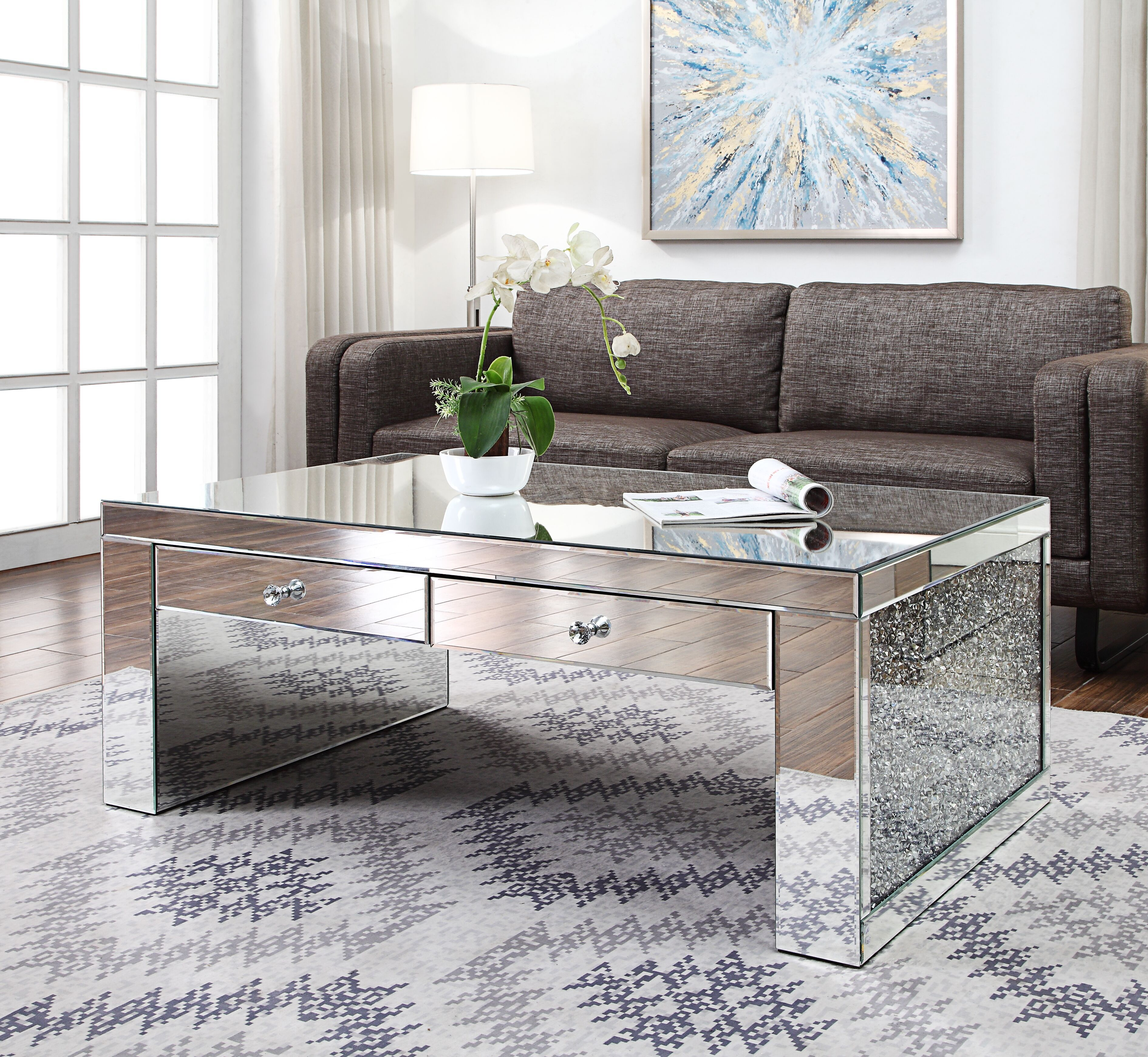 Acme Noralie Coffee Table In Mirrored Faux Diamonds Walmart Com Coffee Table Living Room Table Sets Coffee Table With Storage [ 3479 x 3781 Pixel ]