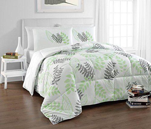 Best Tropical Green White Natural Leaf Print Comforter Set 400 x 300