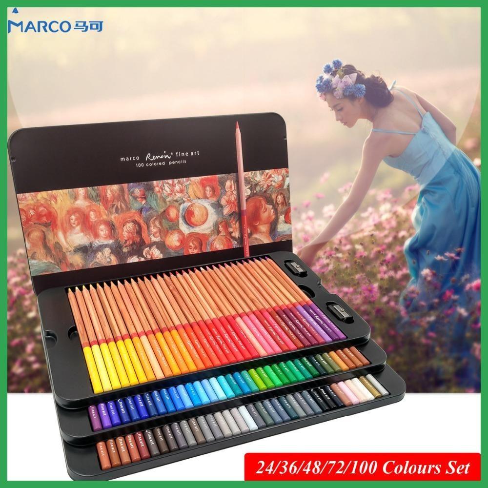 Marco Renoir 24 36 48 72 100 Artist S Colour Set Colored Pencils Lapis De Cor Professional Drawing Color Pencils For Drawing Colored Pencils Color Set Renoir