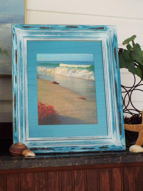 Feeby Photo Image Black frame House on beach Decor Print Boat Blue 60x40 cm