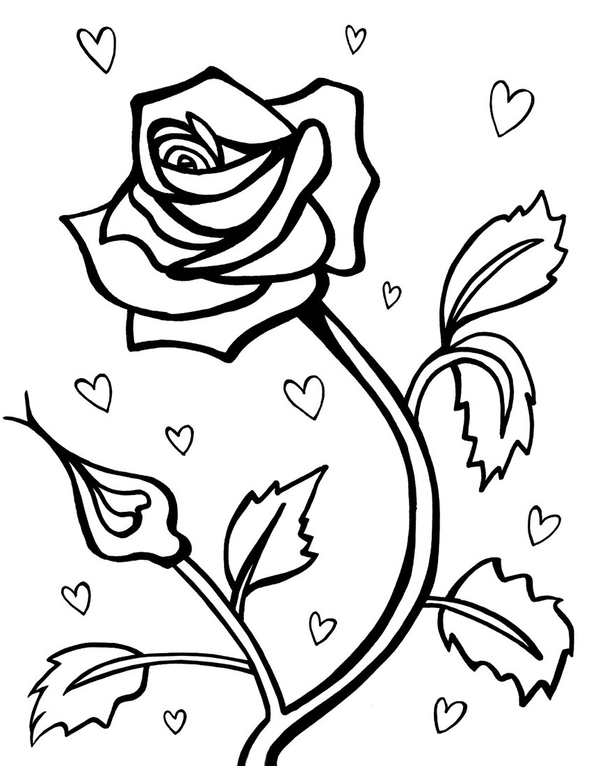 Rose Coloring Pages For Decoration Educative Printable In 2020 Rose Coloring Pages Valentines Day Coloring Page Online Coloring Pages