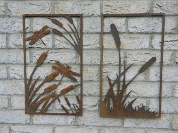 Dragonfly Wall Art bull rush & reeds metal wall art / dragonfly wall art / pond reed