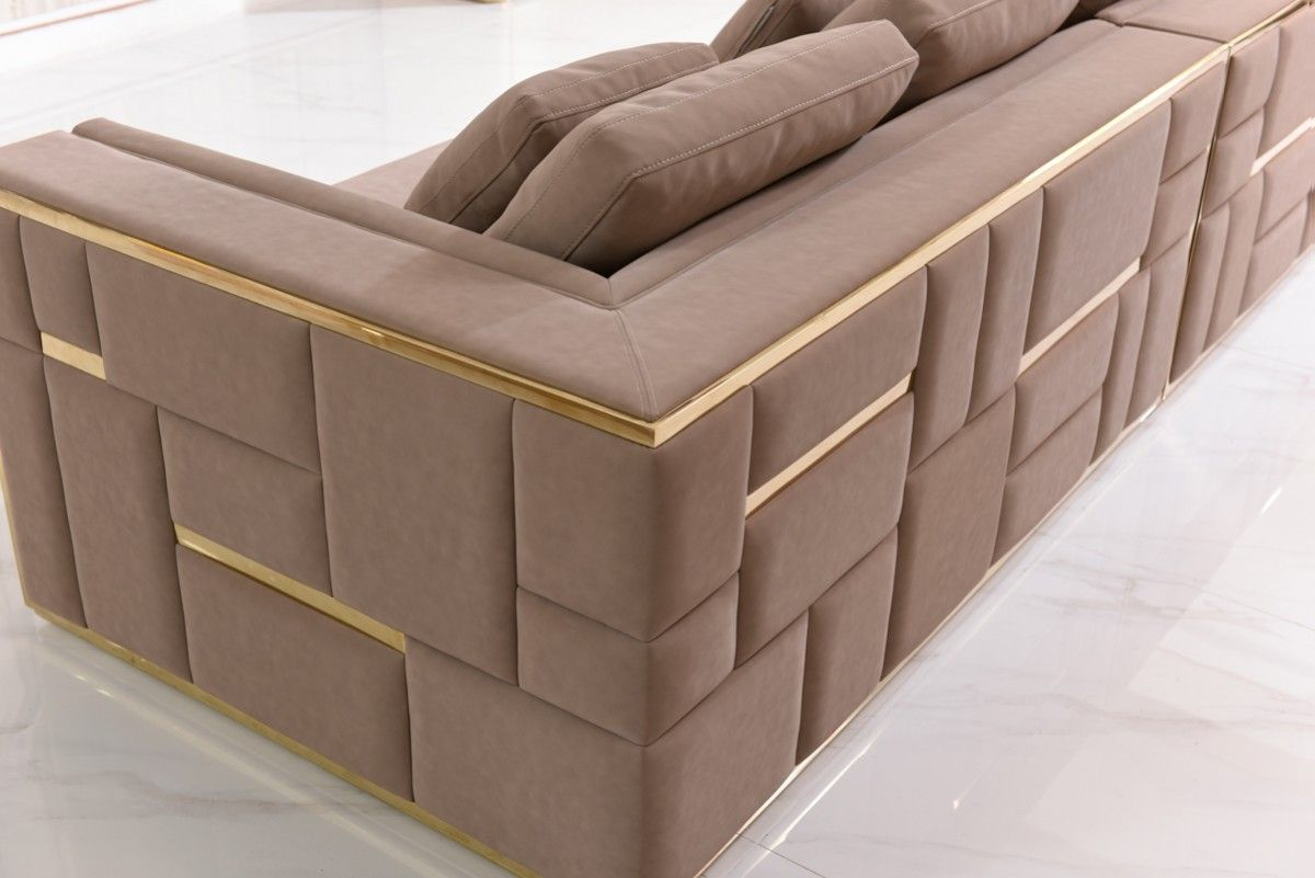 Divani Casa Euclid Modern Taupe Bonded Leather Gold Large Sofa