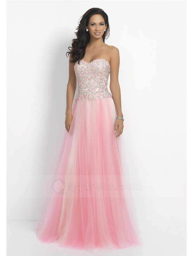 A-line Sweep Train Sweetheart Beaded Appliqued Tulle Prom Dress ...