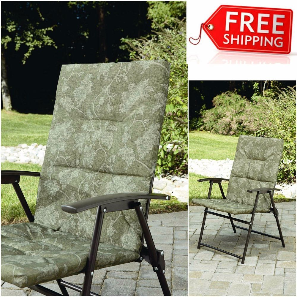 Padded Garden Chair Comfortable Folding Outdoor Patio