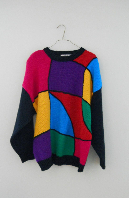 Plus Size Sweater Colorblock Color Block Vintage 90s Shoulder Pads ...