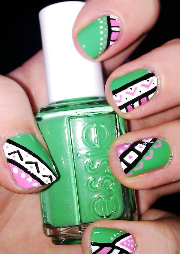 Christmas Vintage Aztec Tribal Nails, Green Tribal nails for fashion ...