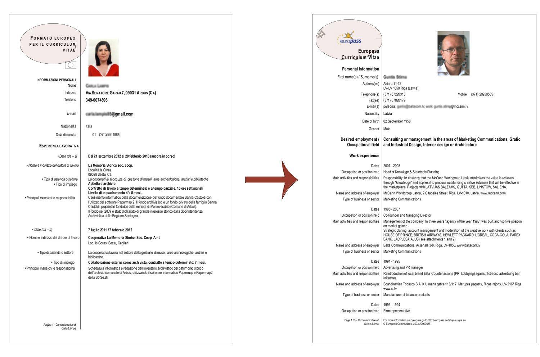 Curriculum Vitae Formato Europeo Formato De Curriculum