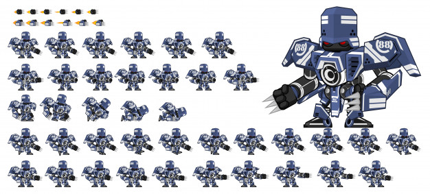 Blue Robot Game Sprite Robot game, Sprite, 2d character