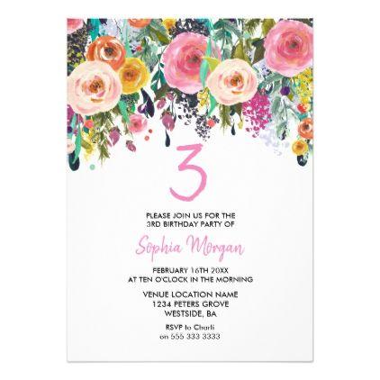 Girls 3rd Birthday Party Invite Pink Flower Peach