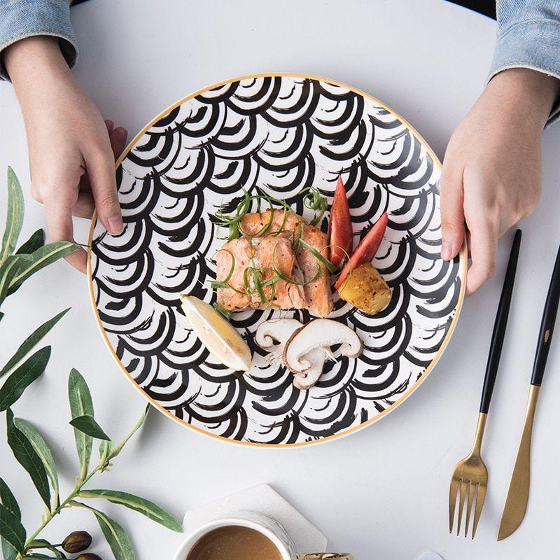6 8 10 Inch Phnom Penh Geometry Ceramic Tableware In 2020 Ceramic Plates Designs Ceramic Tableware Ceramic Plates