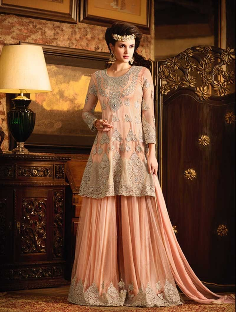 sharara suits for weddings buy online PEACH EMBROIDERED PARTYWEAR ...