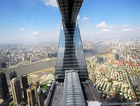 The View From The Rectangle At The Top Of The Shanghai World Financial Center Kpf Kohn Shanghai World Financial Center Wonders Of The World Unusual Buildings