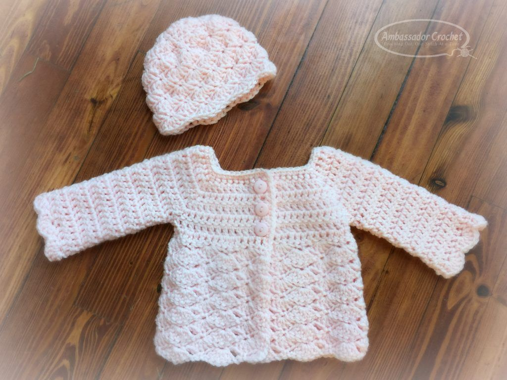 af33c102a Sweet Shells Baby Sweater Crochet Pattern - This 0-3 month baby ...