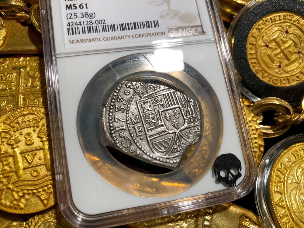8 REALES KLIPPE ROOSWK SHIPWRECK SILVER COIN TREASURE MEXICO 1733 FINEST KNOWN AND ONLY MINT STATE BY BOTH PCGS NGC 61