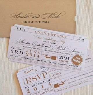 theater ticket place cards Wedding Invitations Theatre