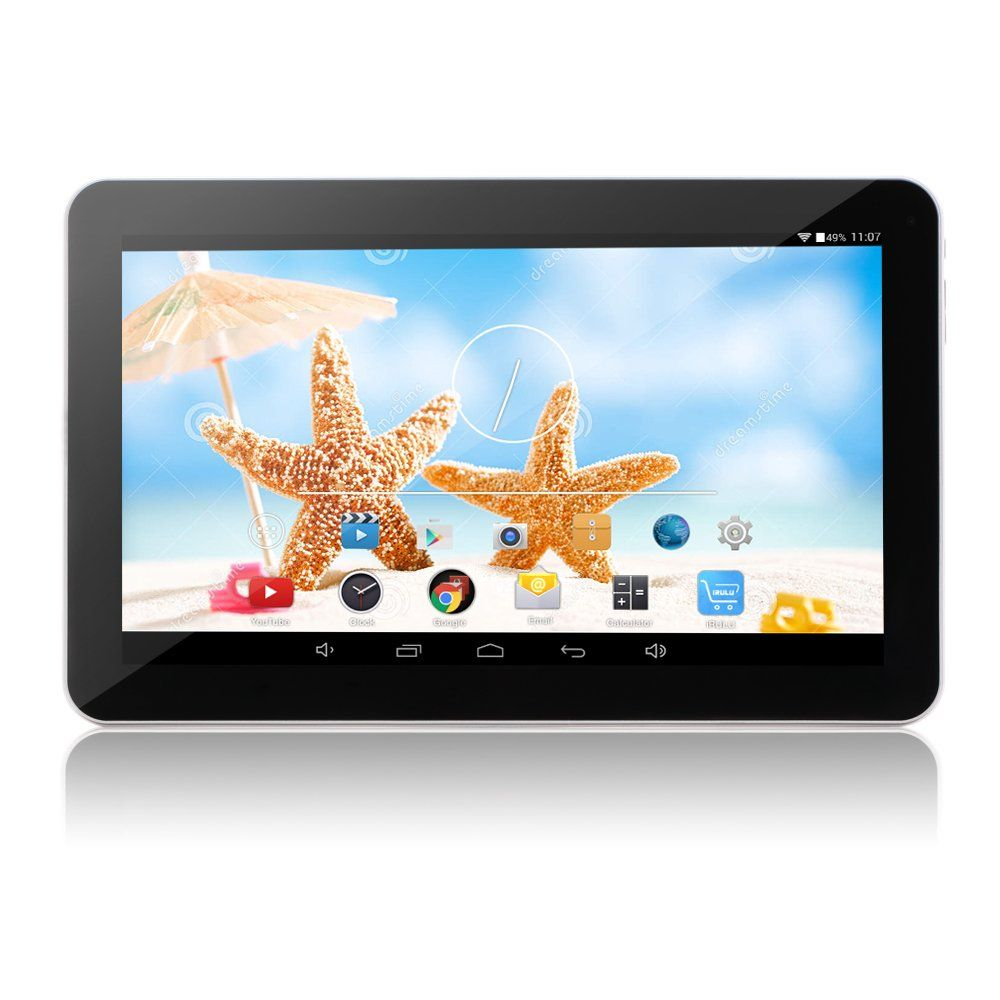 "iRULU eXpro X1 Plus 10.1 Inch Quad Core Google Android 5.1 Lollipop Tablet PC, 1GB RAM, 8GB Nand Flash, 1024x600 Resolution, WiFi, Bluetooth4.0(Black Front and White Rear). 10.1"" multi-touch screen; 1024 by 600 resolution. Quad Core Processor 1.3GHZ; GMS Tested & Certified; Google Android 5.1 Lollipop Operating System. Dual Camera Front 0.3MP and Rear 2.0 MP, Bluetooth, OTG Function. 8 GB capacity, extendable to 32 GB with a Micro SD card. 5500mAh Battery, the endurance is more than 5 hours."