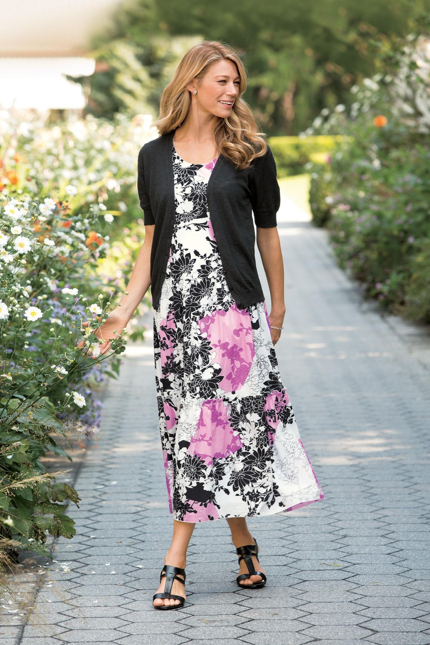Graphic Floral Dress & Short Sleeve Cardigan | Fashion | Pinterest ...