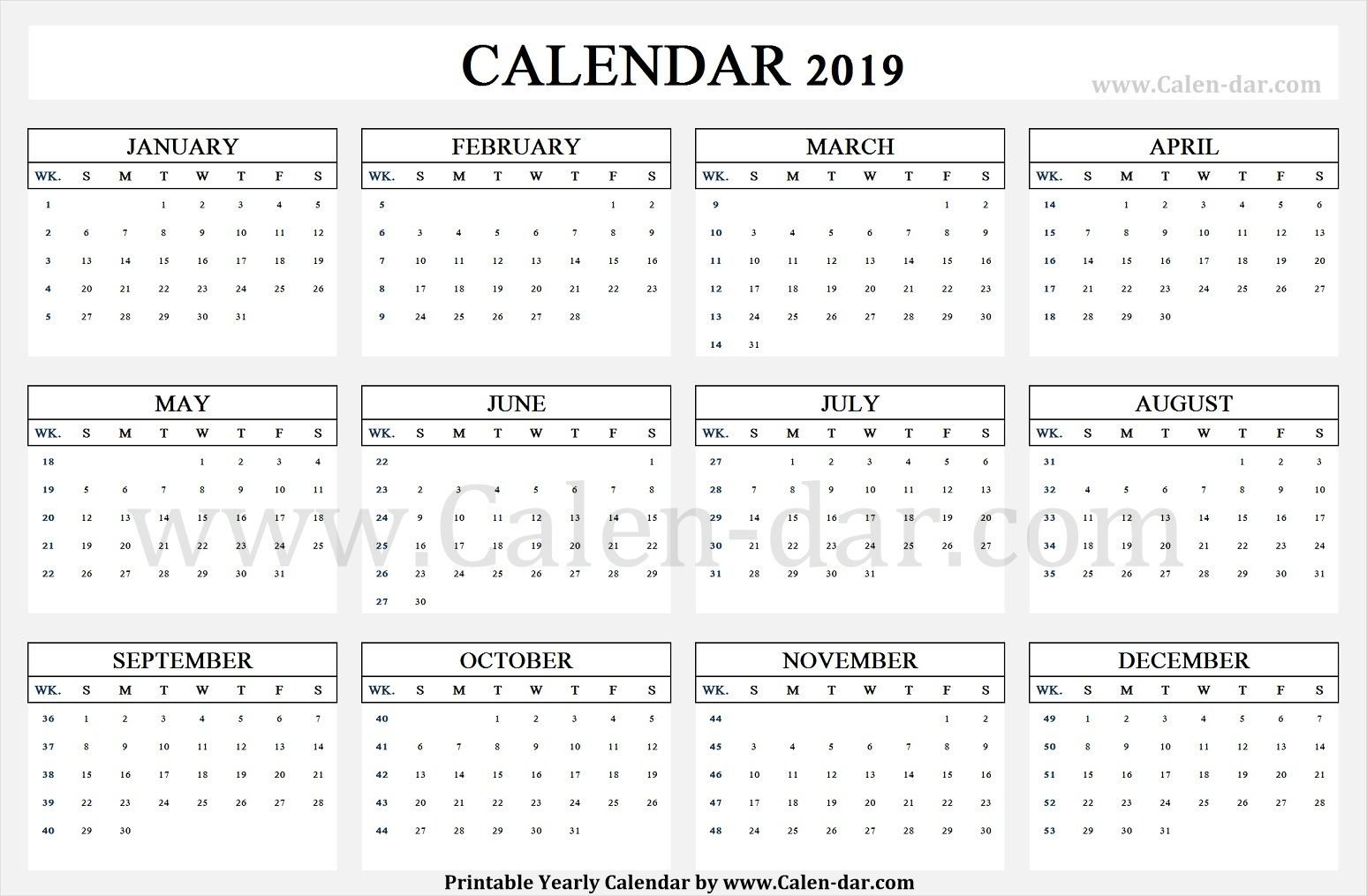 Calendar 2019 Week Wise Printable Template Calendar Template