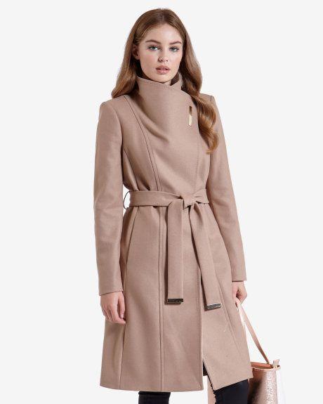 df5946bf028fa1 Long wool wrap coat - Beige