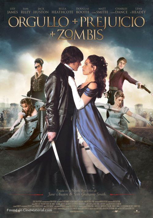 Mr. Darcy - Sam Riley - Fitzwilliam Darcy - Colonel Darcy - Lily James - Lizzie Bennet - Elizabeth Bennet - Jane Bennet - Bella Heathcote - Kitty Bennet - Suki Waterhouse - Douglas Booth - Captain Bingley - Mr. Bingley - Mister Bingley - Mr Bingley - Lena Headey - Lady Catherine de Bourgh - Pride and Prejudice and Zombies - spanish poster