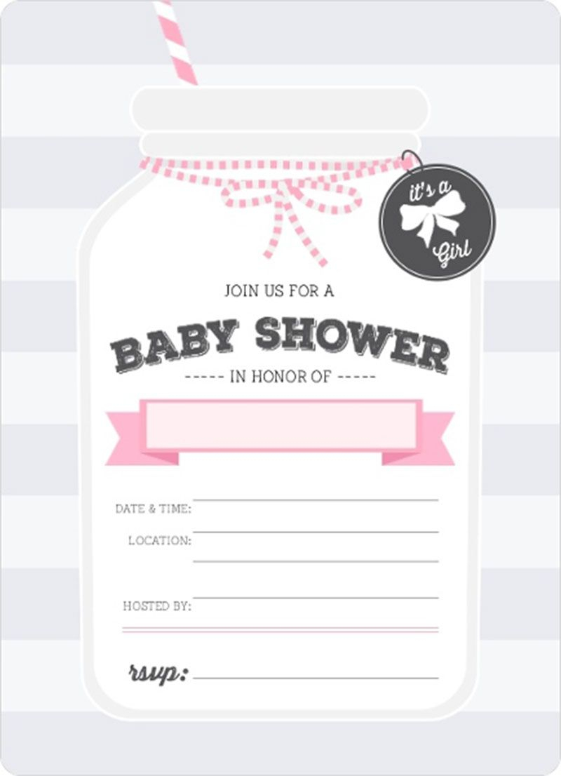 Lovely Pink Mason Jar Fill In Blank Baby Shower Invitation With