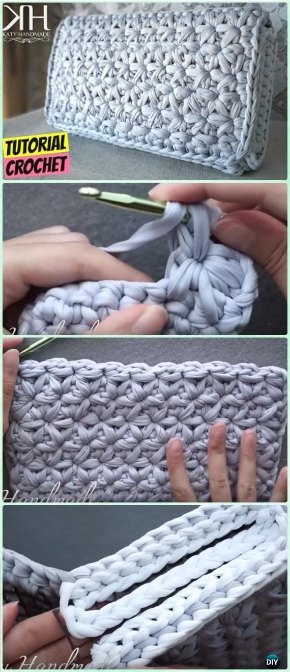 Crochet Star Stitch Clutch Free Pattern Video - Crochet Clutch Bag ...
