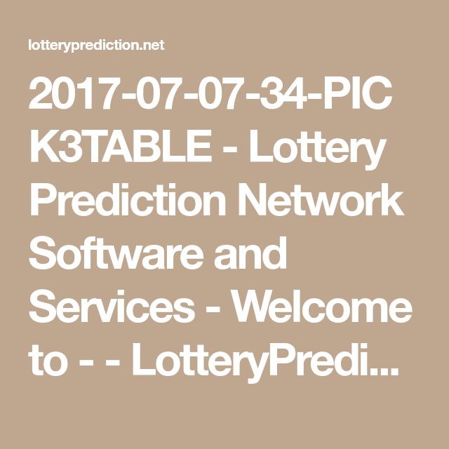 2017-07-07-34-PICK3TABLE - Lottery Prediction Network Software and